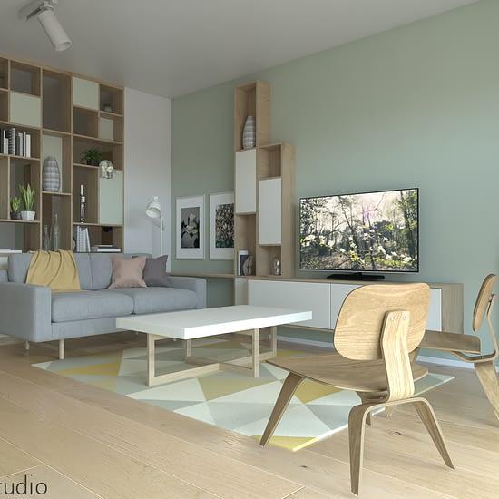Prezentare concept randare 3d fotorealista pentru un proiect de design interior, apartament cu o camera, din Cluj Napoca